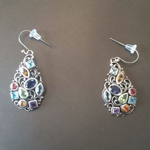 Multicolored rhinestone sterling earrings